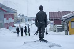 Monument to miner. Showplace in Longyearbyen, Svalbard Stock Photos