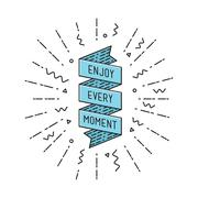 Enjoy every moment, flat design thin line banner Stock Illustration