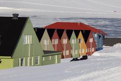 Residental houses in Longyearbyen, Svalbard . Norwa Stock Photos