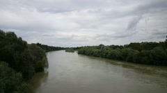 Border crossing between Germany and France at the river Stock Footage