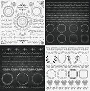 Mix of Black and Chalk Drawing Rustic Design Elements - stock illustration