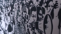Wall of activists killed through drug violence in The House of Memory - stock footage