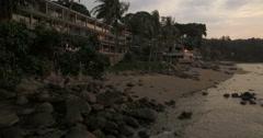 Beach Resort At Sunset Overlooking Patong Bay In Phuket Stock Footage