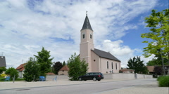 L Eglise Saint Wendelin church in Chalampe, France Stock Footage
