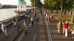 Russian people lifestyle. Gorky park festival. Aerial drone views of Moscow Stock Footage