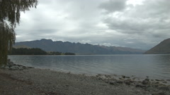Overcast Lake Wakatipu Panning Shot Stock Footage