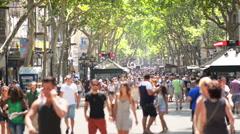 Crowdy street in Barcelona Spain - stock footage