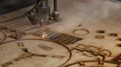 Laser cutting on wood Stock Footage