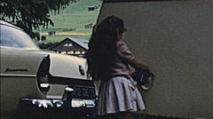 Hungary 1960s: little girl in a caravan Stock Footage