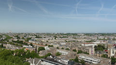 Panoramic view over rooftops Rotterdam Stock Footage