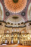 Suleymaniye Mosque interior - stock photo