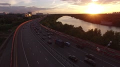 Best aerial view ad Red Zhivopisny Bridge in Moscow city, Unique quadcopter view Stock Footage