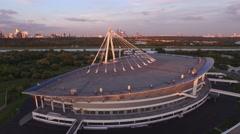 Krylatskoe sport stadium. Drone aerial view. Sunset. Stock Footage