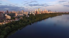 Moscow city rich residential aria apartment buildings. Flight over Moscow river. Stock Footage