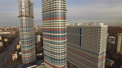 Tricolor apartment highrise building. Moscow city aerial view. Stock Footage
