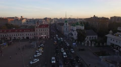 Beautiful warm sunset view from above Moscow city center. Old and modern streets Stock Footage