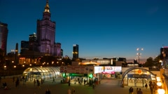 Warsaw City Centre Timelapse Warszawa Metro Centrum Stock Footage