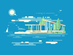 Modern house design flat style - stock illustration
