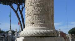 Rome Trajan's Column Antigue Monument Roman History Sculpture Ancient Vestals Stock Footage