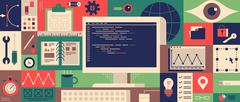 Web programming design flat concept - stock illustration