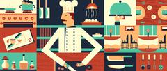 Chef in restaurant background - stock illustration