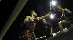 Muay Thai Boxing Fight Outdoor Ring Combat Sport Thailand Stock Footage