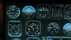 Flight control system showing altitude and speed details, aircraft navigation Stock Footage