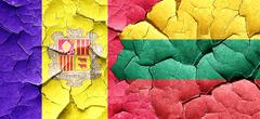 Andorra flag with Lithuania flag on a grunge cracked wall - stock illustration