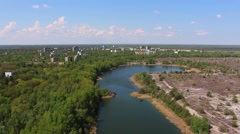 Pripyat. River. copter. Aerial view. Stock Footage