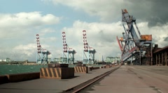 Clouds ower Port Uzhniy and cranes view Stock Footage