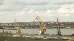 Cranes loading at Illichivsk port Stock Footage