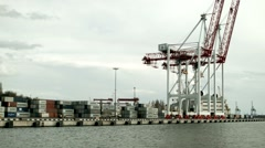 Cargo containers and crane at Port of Odessa - stock footage