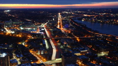 An Aerial timelapse view of the Boston Skyline at dusk Stock Footage