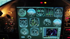 Cockpit panel shaking in turbulence, smoke filling aircraft engine compartment - stock footage