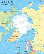Arctic Region Political Map - stock illustration