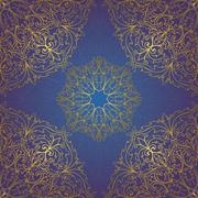 Seamless blue and gold ornament. - stock illustration