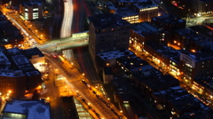 An Aerial timelapse of the Boston city center at night with zoom out Stock Footage
