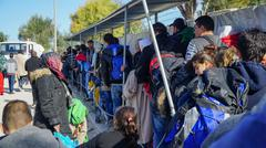 LESVOS, GREECE - NOVEMBER 15, 2015: The newly arrived refugees in the camp Stock Photos