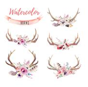 Set of watercolor floral boho antler print.  western bohemian de Stock Illustration