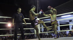 Muay Thai Boxing Fight Knockout Finish KO Outdoor Ring Combat Sport Thailand Stock Footage
