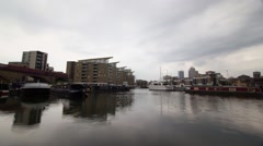 Time lapse of The Limehouse Basin in Limehouse, London Stock Footage