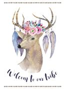 Watercolor hand drawn deer.ethnic print in native western Americ Stock Illustration