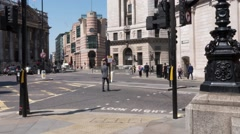 Time lapse of Mansion House and Poultry London with commuters and traffic Stock Footage