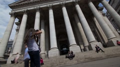Wide Time lapse of Royal Exchange London with tourists and city workers Stock Footage