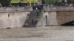 Paris, flood for of Seine in June 3rd 2016, on bridge Saint-Michel, Notre Dame Stock Footage