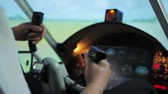 Hands of beginner pilot shaking during first flight, nervous aviation student - stock footage