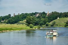 Passenger ship on the river Elbe in Dresden Stock Photos