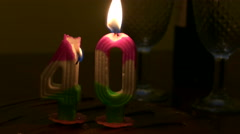 Birthday cake with 40 candle on top Stock Footage