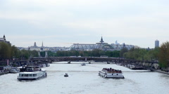 Picturesque view of the Remblai Seine in Paris Stock Footage