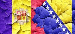 Andorra flag with Bosnia and Herzegovina flag on a grunge cracke Stock Illustration